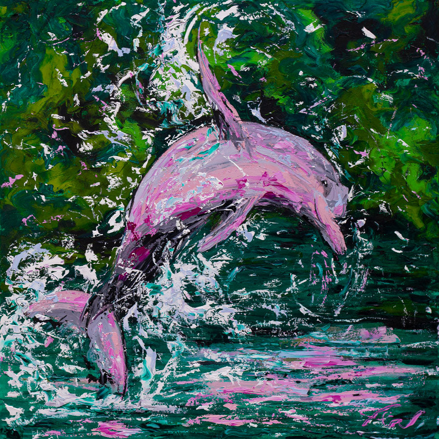 Pink Dolphin | Original Oil Painting | 30x30