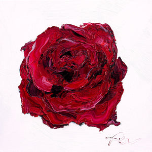 "Deep Red Rose | Original Oil | 8x8""-original art-fercaggiano"