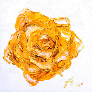 "Yellow Rose | Original Oil | 8x8""-original art-fercaggiano"