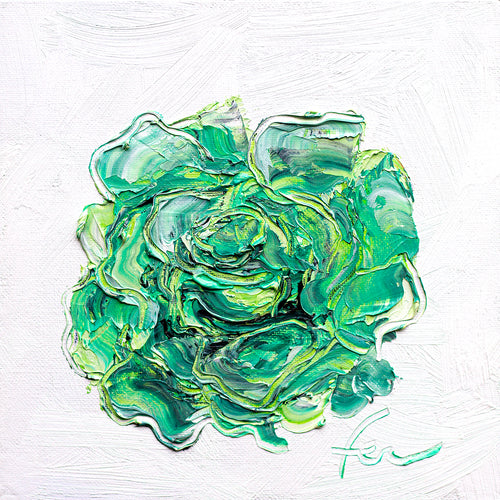 Green Rose | Original Oil | 8x8