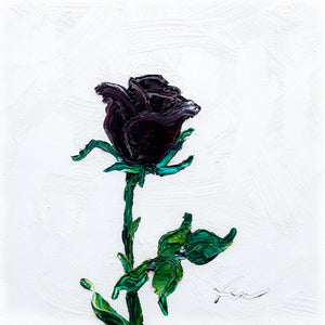 "Black Rose | Original Oil | 8x8""-original art-fercaggiano"