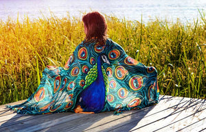 Peacock Modal Shawl-scarves and shawls-fercaggiano