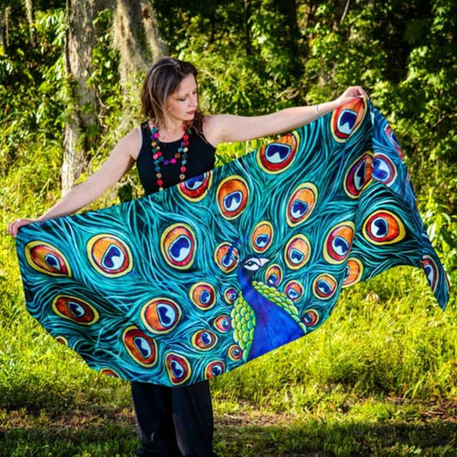 Peacock Silk Scarves-scarves and shawls-fercaggiano