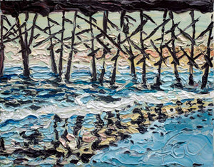 "Pier Reflection at Folly Beach | Original Oil | 14x11""-original art-fercaggiano"
