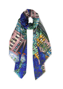 Rainbow Row at Night Modal Art Scarves-scarves and shawls-fercaggiano