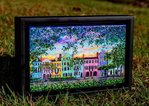 Rainbow Row Framed Giclée-fercaggiano