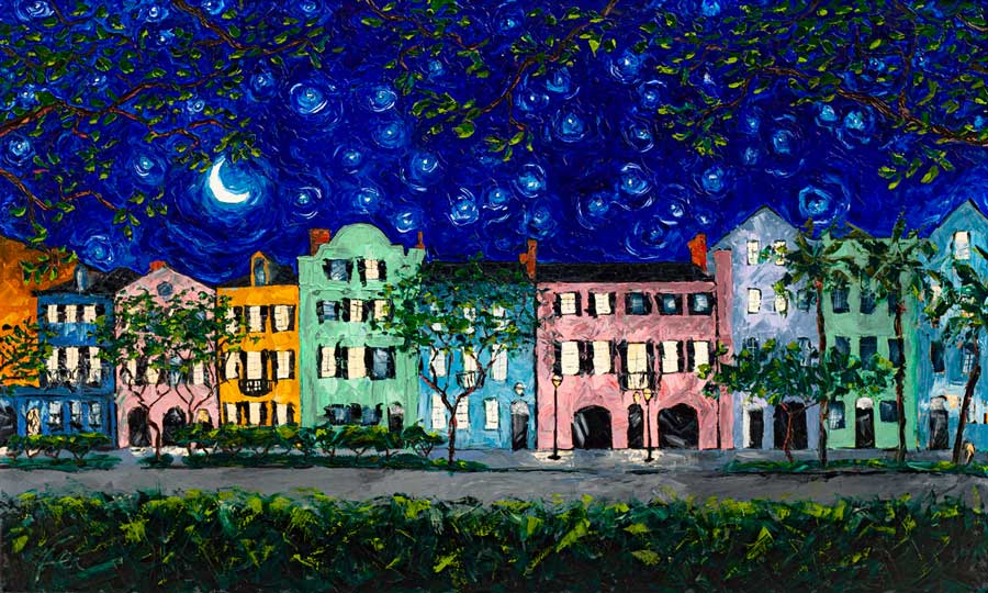 Rainbow Row at Night | Original Oil Painting | 60x36