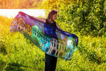 Load image into Gallery viewer, Rainbow Row at Night Modal Art Scarves-scarves and shawls-fercaggiano