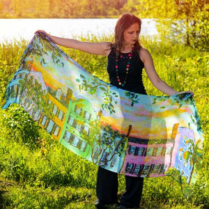 Rainbow Row, Rainbow Sky Modal Art Scarves-scarves and shawls-fercaggiano