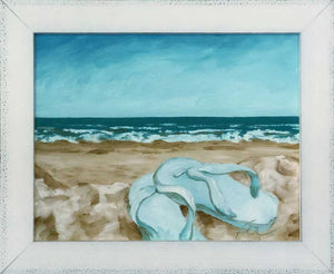 "Summertime, Sandals at the Beach | Original Oil | 14x11""-original art-fercaggiano"