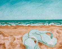 "Load image into Gallery viewer, Summertime, Sandals at the Beach | Original Oil | 14x11""-original art-fercaggiano"