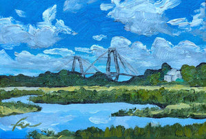"Shem Creek Park | Original Oil | 6x4""-original art-fercaggiano"
