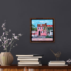 The Pink House | Original Oil-original art-fercaggiano