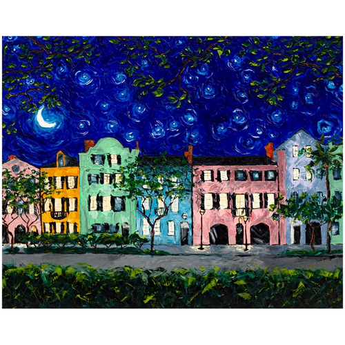 Rainbow Row at Night Fine Art Prints-paper print-fercaggiano