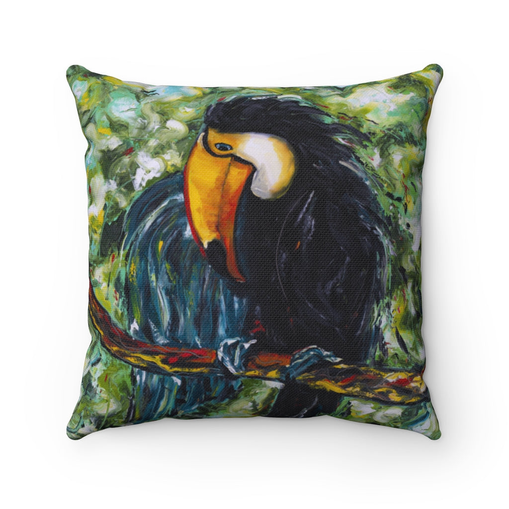 Toucan Spun Polyester Square Pillow-pillows-fercaggiano