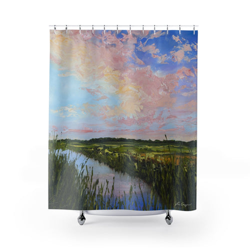 Mind at Ease - Marsh Sunset - Shower Curtains-Home Decor-fercaggiano