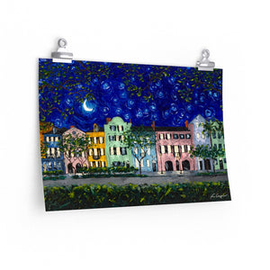 Rainbow Row at Night Print On Paper-Poster-fercaggiano