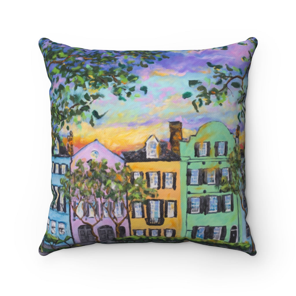 Rainbow Row, Rainbow Sky Spun Polyester Square Pillow-pillows-fercaggiano