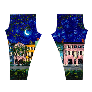 Rainbow Row At Night Leggings-leggings-fercaggiano