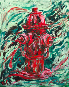 "Fire Hydrant | Original Oil Painting | 16x20""-original art-fercaggiano"