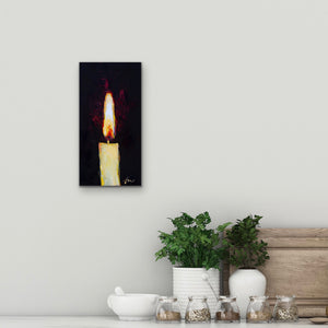 "Candle Light | Original Oil | 6x12""-original art-fercaggiano"