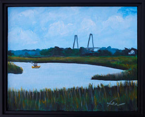 "Kayaking at Shem Creek | Original Acrylic |10x8""-fercaggiano"