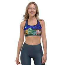 Load image into Gallery viewer, Rainbow Row at Night Sports bra-bra-fercaggiano