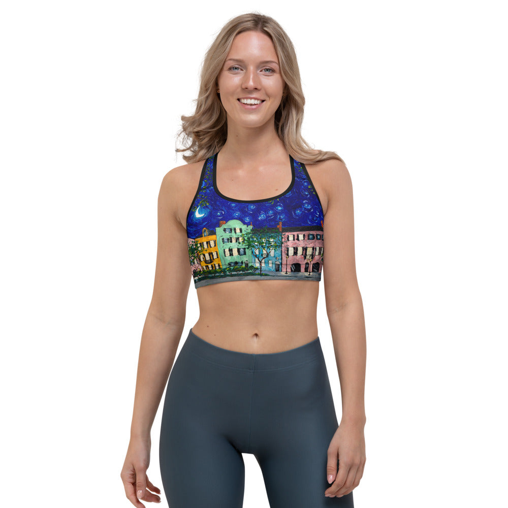 Rainbow Row at Night Sports bra-bra-fercaggiano