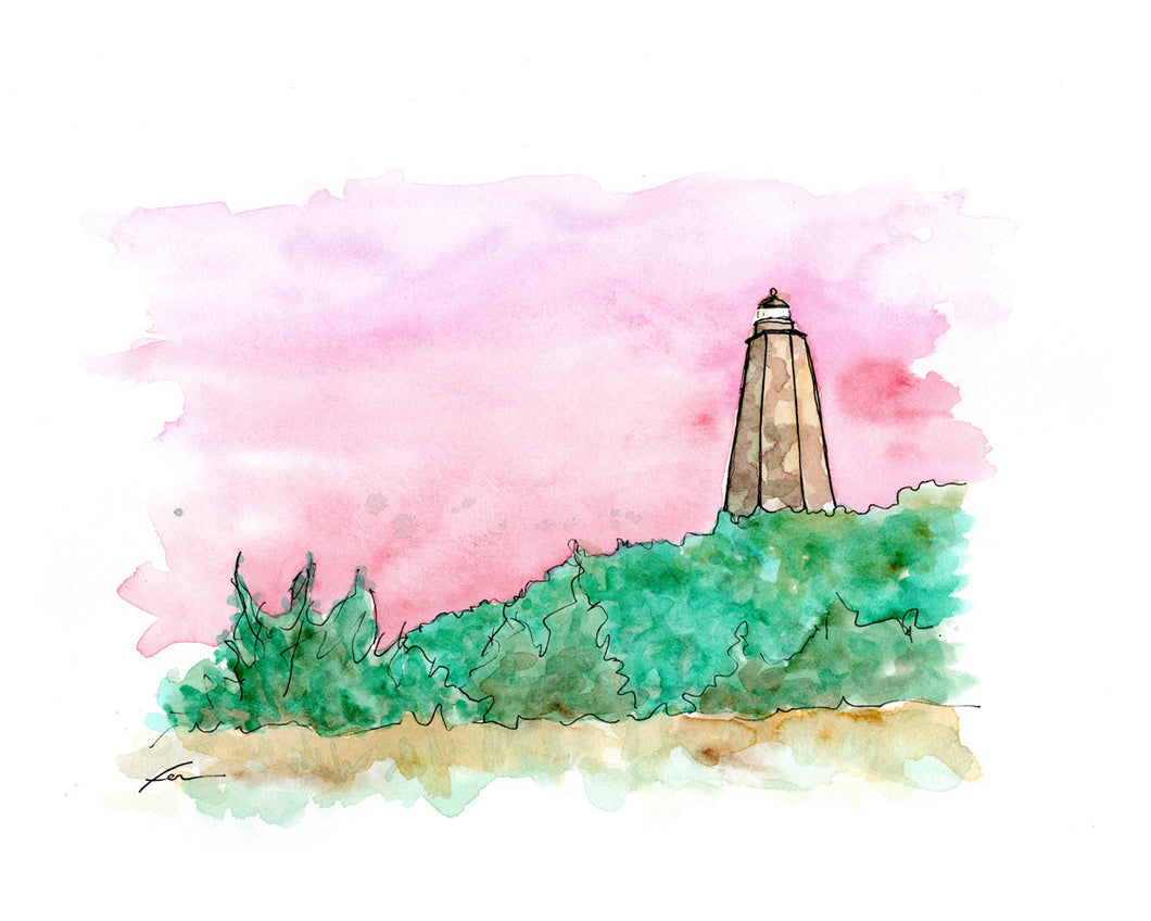 Old Baldy Lighthouse Original Watercolor 12x9-fercaggiano