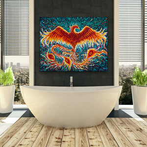 "Phoenix Rise | Original Oil Painting | 60x48""-original art-fercaggiano"