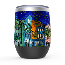 Load image into Gallery viewer, Rainbow Row at Night Stemless Wine Tumblers-tumbler-fercaggiano