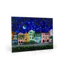 Load image into Gallery viewer, Rainbow Row at Night Glass Cutting Boards-cutting board-fercaggiano