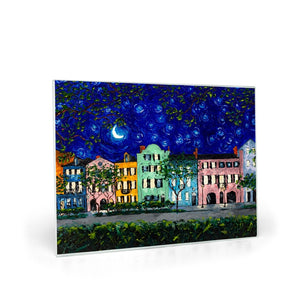 Rainbow Row at Night Glass Cutting Boards-cutting board-fercaggiano