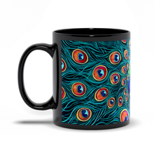 Load image into Gallery viewer, Peacock Art Black Coffee Mugs-mug-fercaggiano