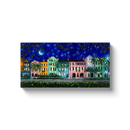 Rainbow Row at Night Starry Night Canvas Print-canvas print-fercaggiano