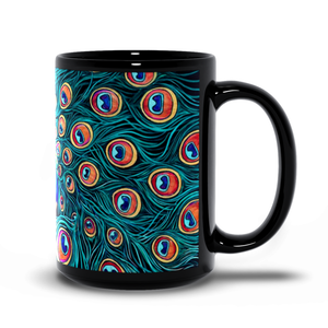 Peacock Art Black Coffee Mugs-mug-fercaggiano