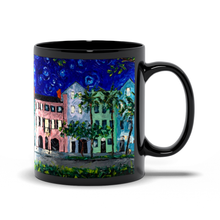 Load image into Gallery viewer, Rainbow Row At Night Art - Black Coffee Mug-mug-fercaggiano