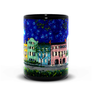 Rainbow Row At Night Art - Black Coffee Mug-mug-fercaggiano