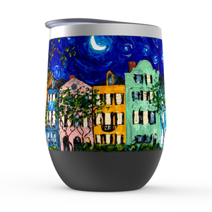 Rainbow Row at Night Stemless Wine Tumblers-tumbler-fercaggiano