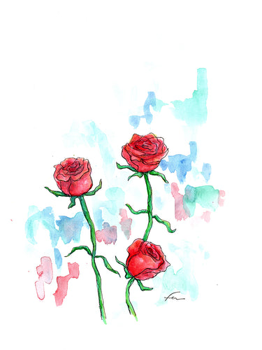 3 Roses Original Watercolor 9x12-fercaggiano