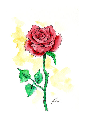 Red Rose 1 Original Watercolor 4x6-fercaggiano