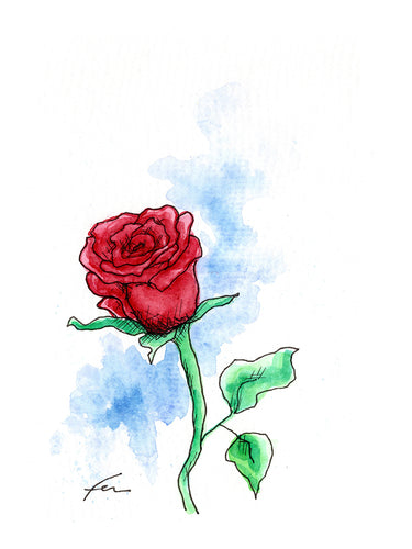 Red Rose 2 Original Watercolor 4x6-fercaggiano