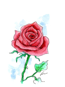 Red Rose 3 Original Watercolor 4x6-fercaggiano