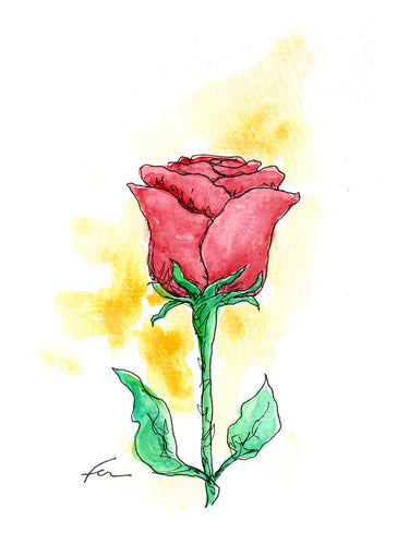 Red Rose 4 Original Watercolor 4x6-fercaggiano