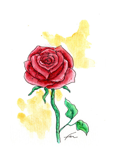 Red Rose 6 Original Watercolor 4x6-fercaggiano