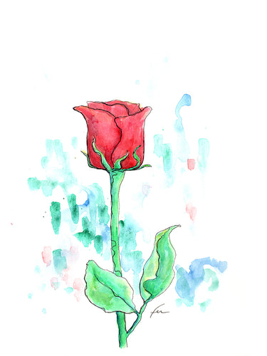 Red Rose 7 Original Watercolor 9x12-fercaggiano