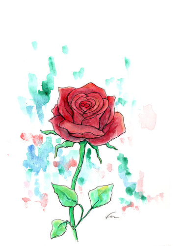 Red Rose 8 Original Watercolor 9x12-fercaggiano