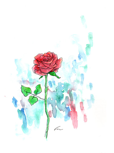 Red Rose 9 Original Watercolor 9x12-fercaggiano