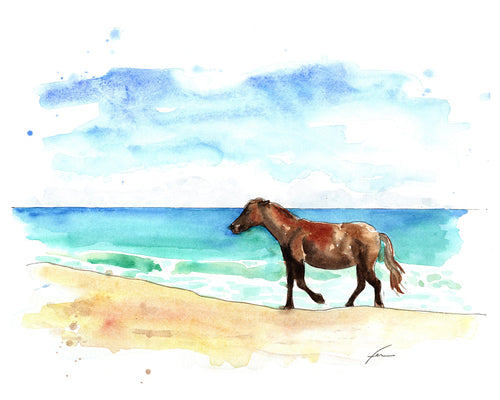 Wild Horse 2 Original Watercolor 12x9-fercaggiano