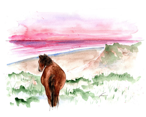Wild Horse 6 Original Watercolor 12x9-fercaggiano
